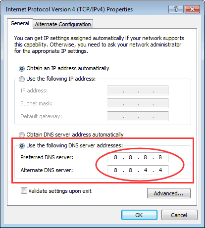 change dns server settings