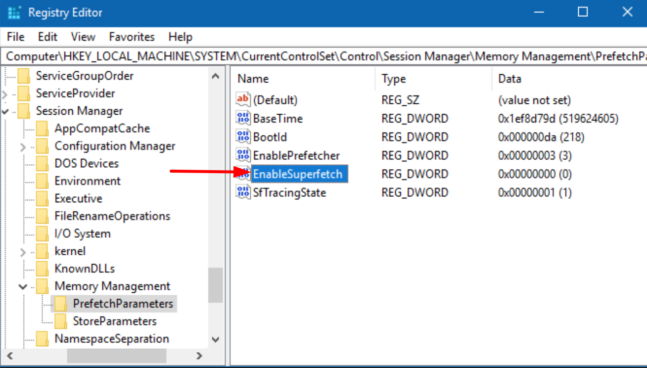 Disable SuperFetch in Windows 10 using Registry Editor