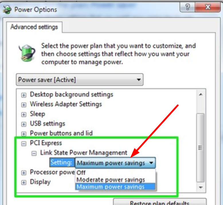 PCI Express Power Settings to Fix Driver Power State Failure