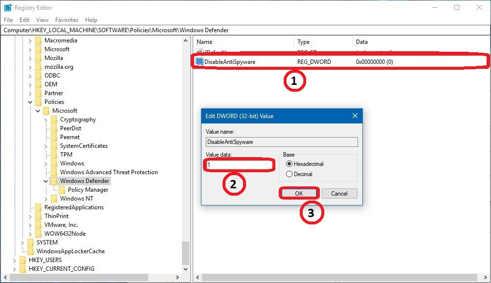 How to Disable Windows Defender using Registry Editor