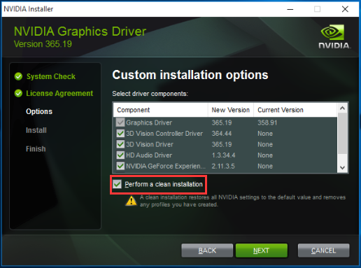 Perform a Clean Installation to Bypass NVIDIA Installer Failed Error