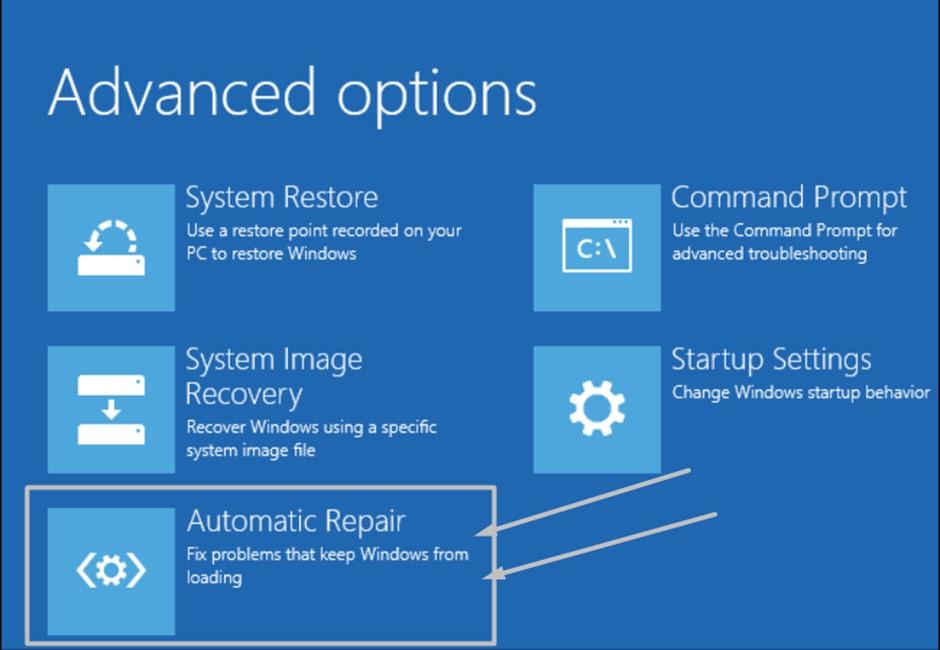 Run Automatic Repair to Fix Error Code 0xc000021a