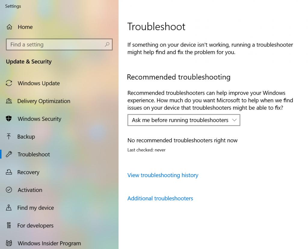 Windows Troubleshoot Settings