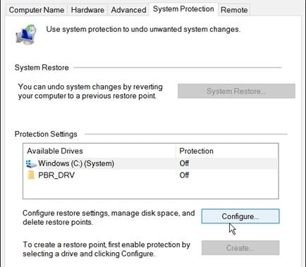 System Restore Settings