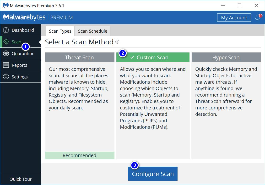 Scan Option and Custom Scan Option FileRepMalware