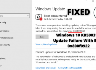 Windows 10 KB5003173 Update Fails With Error 0x800f0922