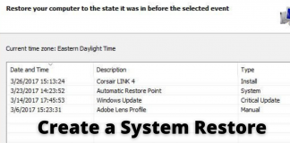 Create a System Restore Point On Windows 10
