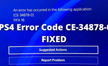 PS4 Error Code CE-34878-0