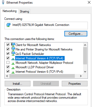 Ethernet adapter setting