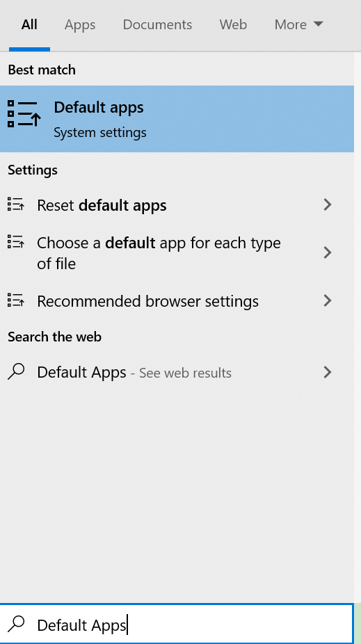Default apps option