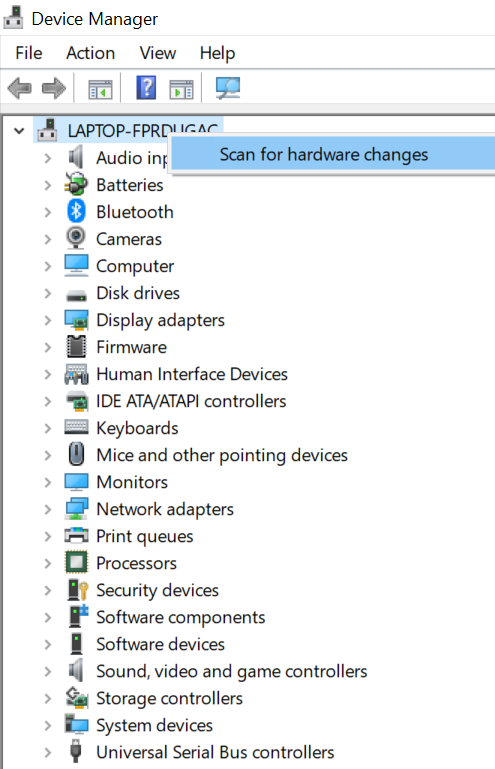 Scan for hardware changes option