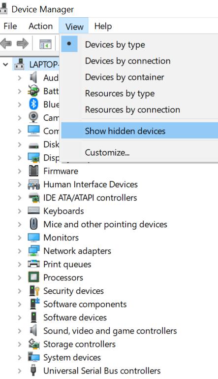 Show hidden devices option