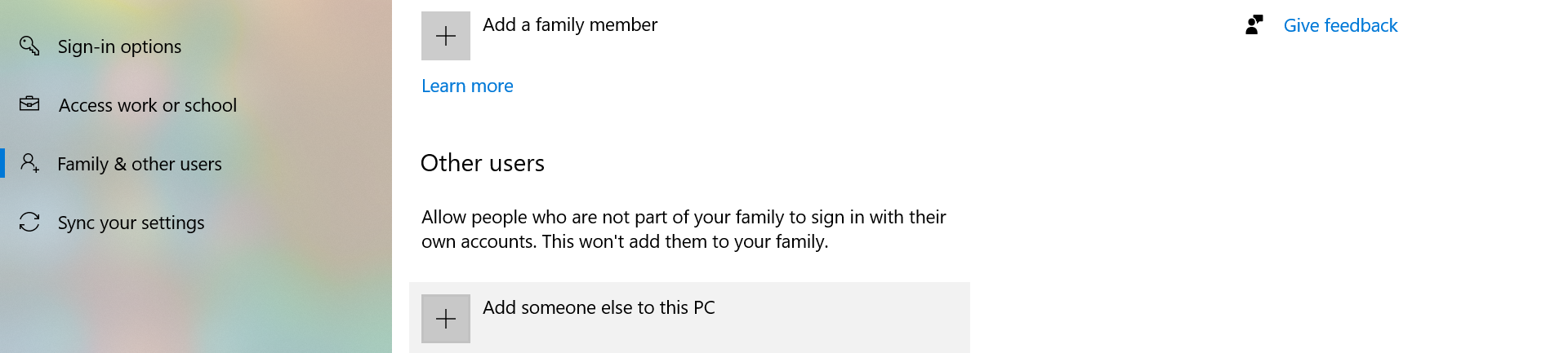 Add someone else to this PC option