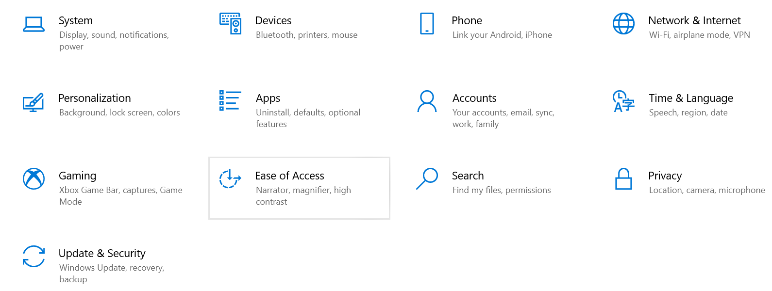 Ease of Access option