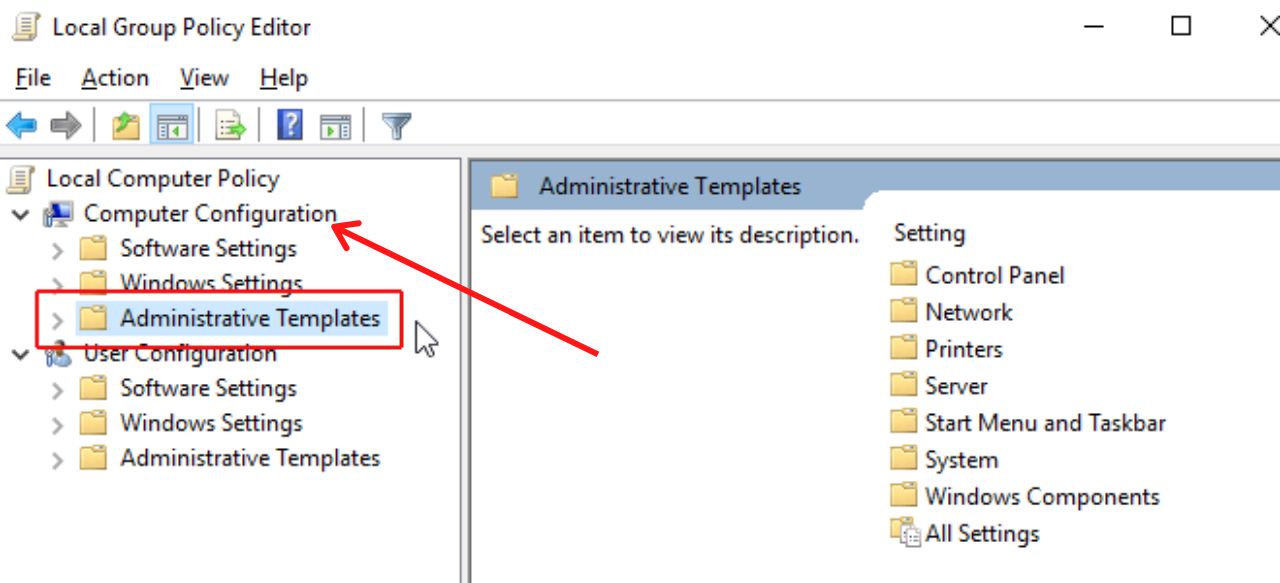Computer Configuration and Administrative Templates Option