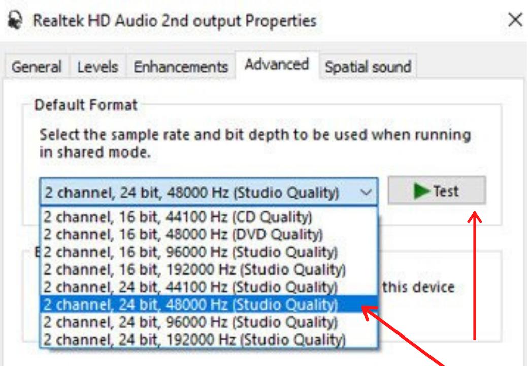 Default Sound Format Option