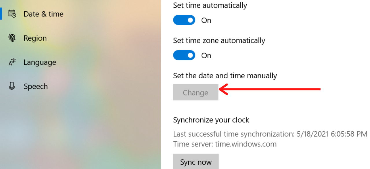 Set the date and time manually to Fix Error Code 0xc004f074