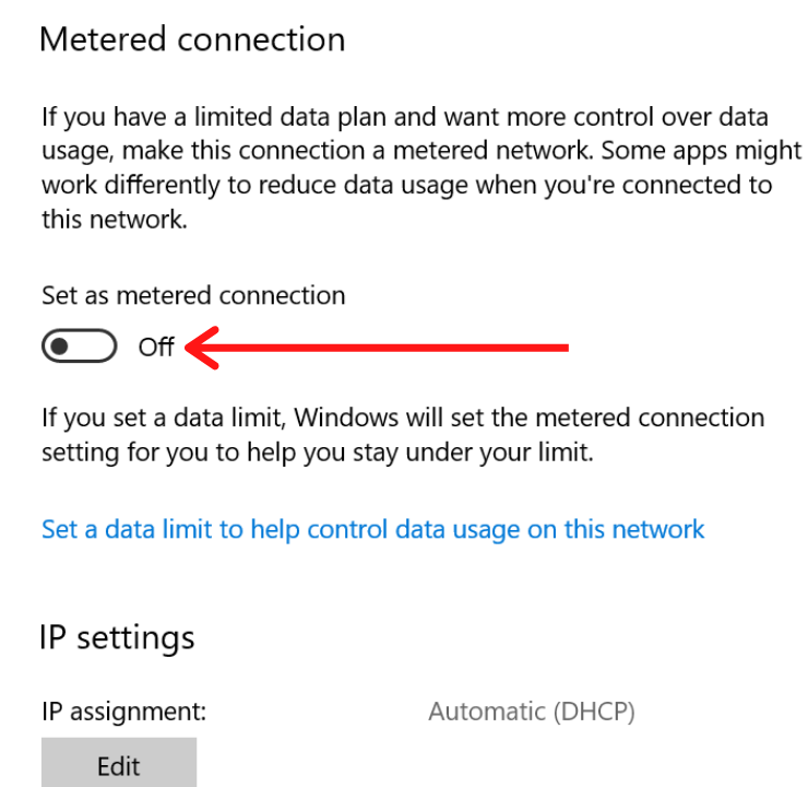 Set as Metered Connection option