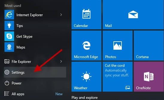 Settings Option On Windows 10