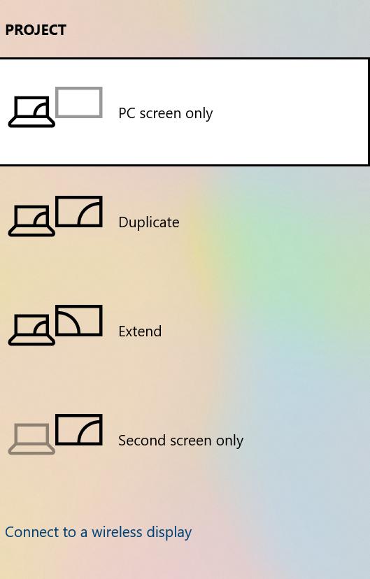 Project Menu to Fix Black Screen