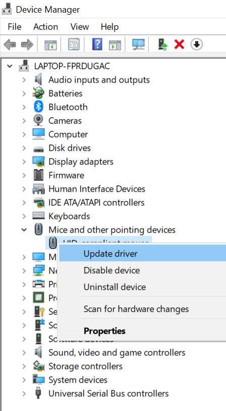 Update Mouse Driver option to fix Touchpad not working