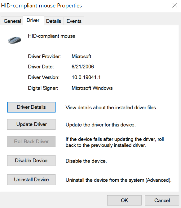 Roll Back Driver button to fix Touchpad not working