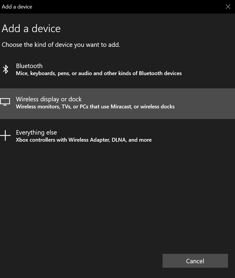 Wireless display or dock option to fix Wireless display or dock option