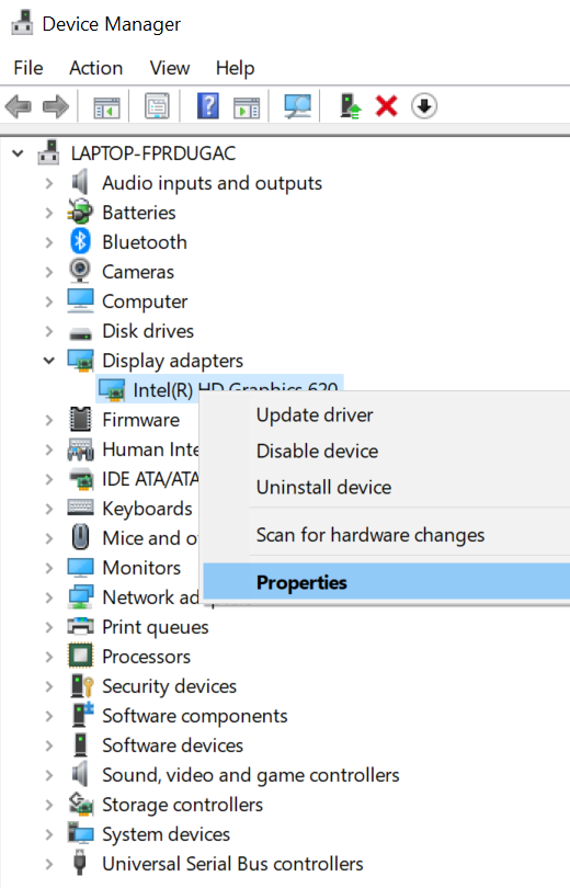 Graphics Driver Properties option to Fix Second Monitor Not Detected