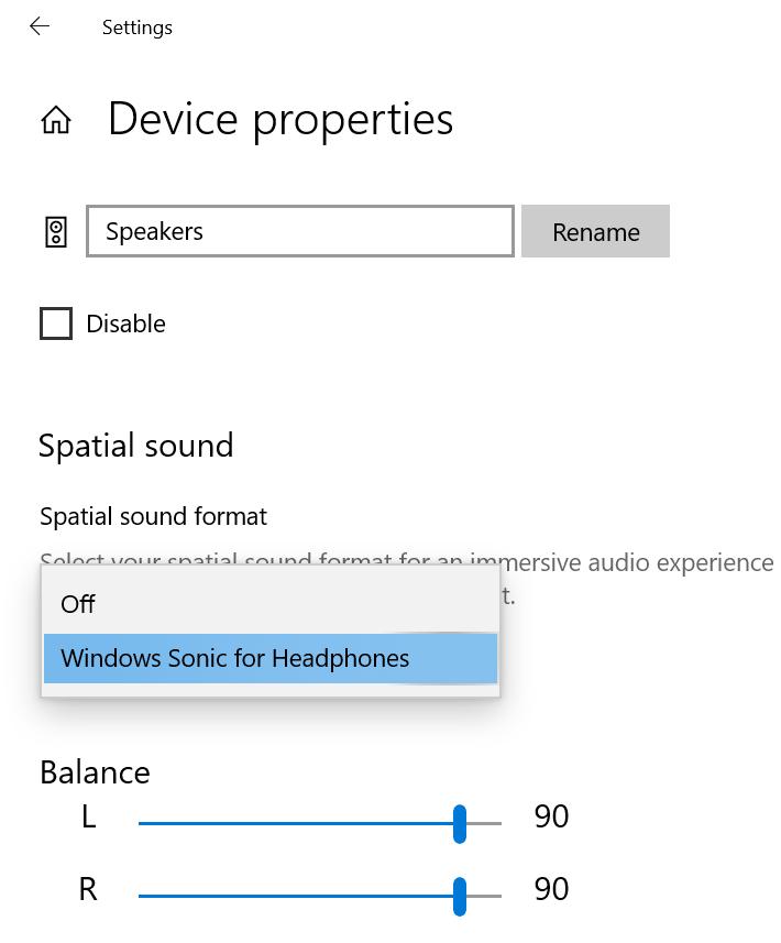 Enable Windows Sonic Using Settings