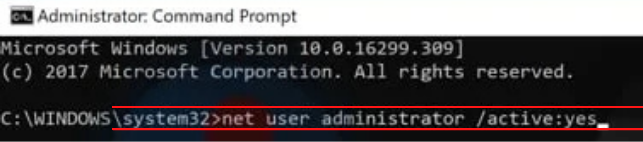 net user administrator /active:yes command to Fix 'This app has been blocked for your Protection'