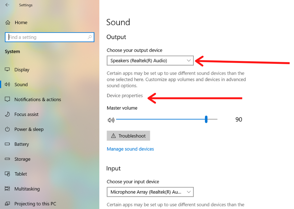 Choose your output device and Device Properties Option to Turn On Windows Sonic for Headphones
