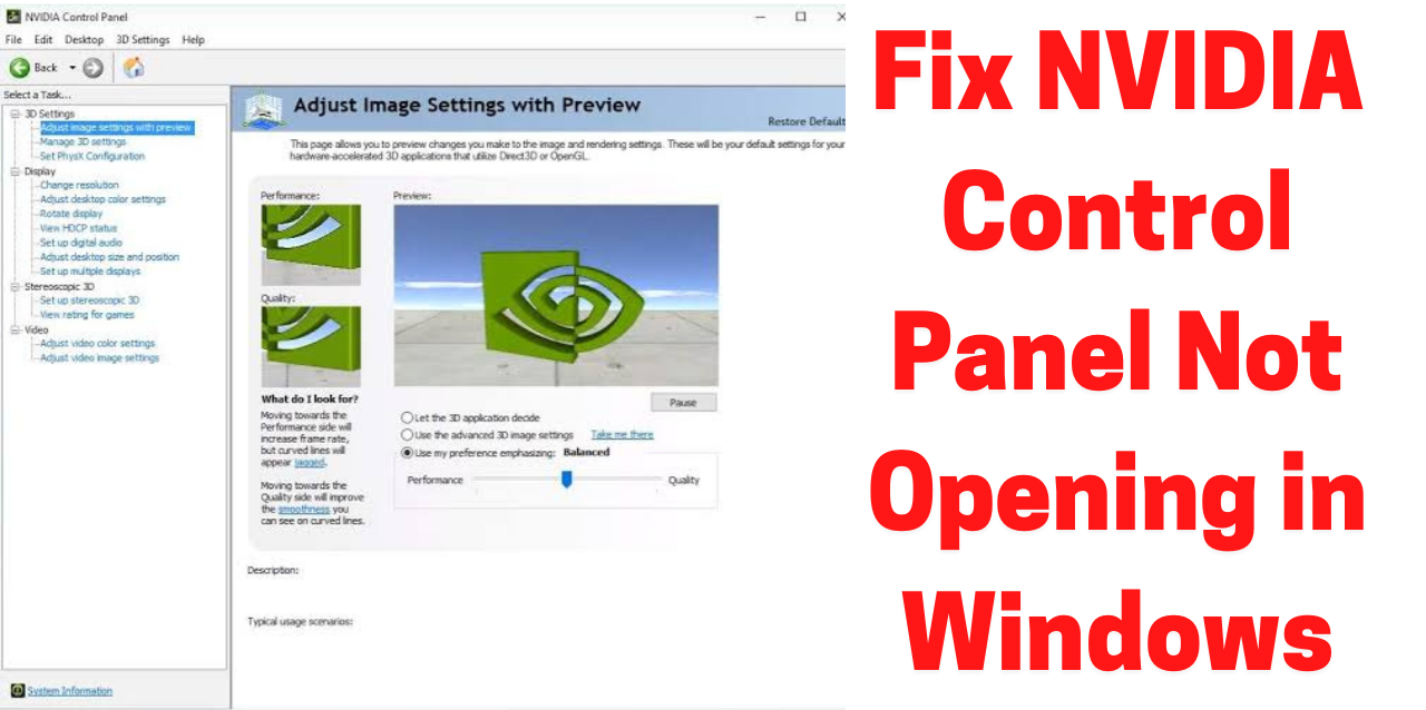 How to Fix NVIDIA Control Panel Not Opening in Windows